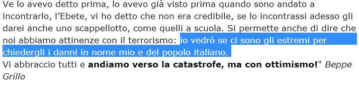 beppe grillo querela Renzi