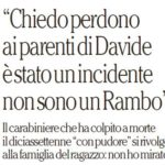 L'articolo di Repubblica in cui parla il carabiniere che ha sparato a Davide Bifolco