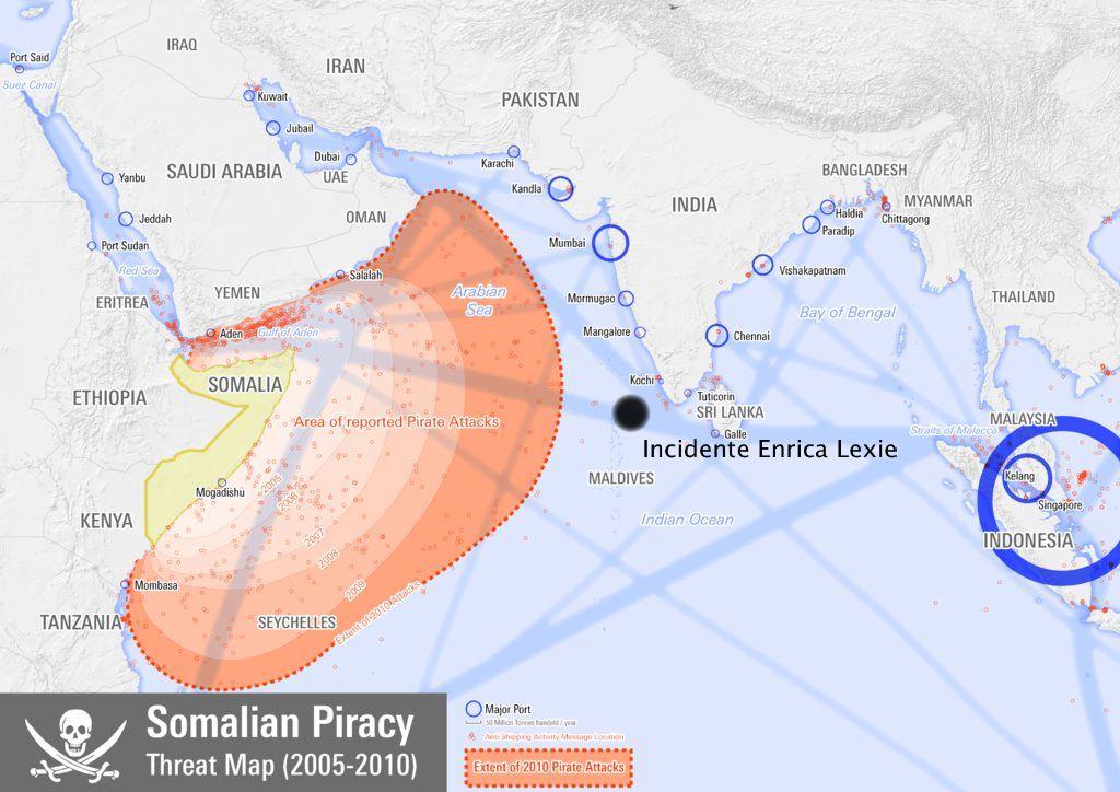 La posizione della Enrica Lexie e le zone a rischio pirateria - marò