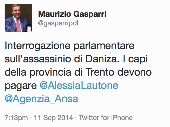 Gasparri assassinio Daniza