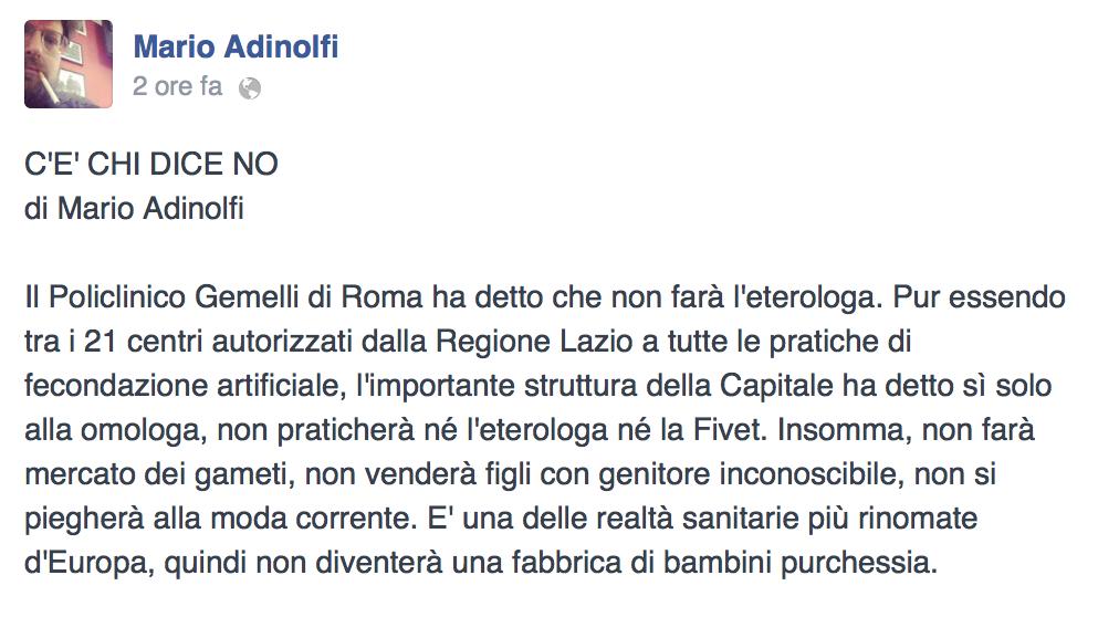 Il Policlinico Gemelli di Roma ha detto che non farà l'eterologa