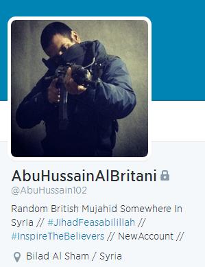 Il profilo Twitter di Abu Hussein Al Britani