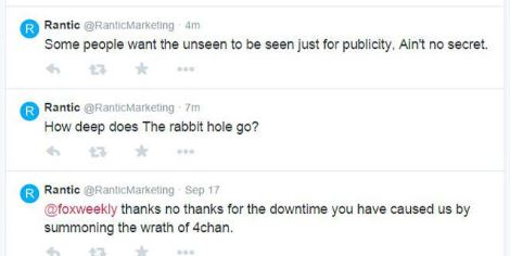 Il tweet di Rantic  a FoxWeekly