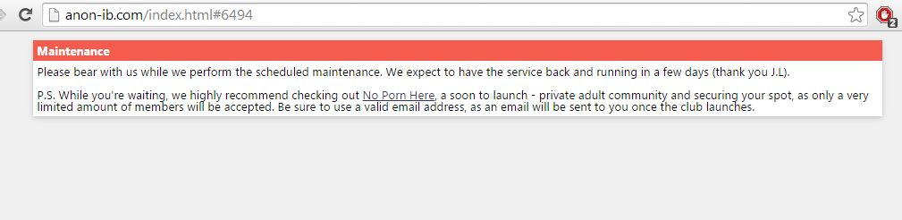 AnonIB è attualmente offline per manutenzione. Strano..