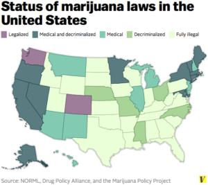 Le leggi sulla marijuana negli Stati Uniti (infografica: Vox.com)