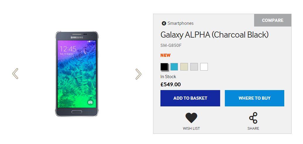 Il prezzo e le colorazioni disponibili del nuovo Samsung Alpha