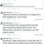 I tweet dell'attivista che annuncia l'inizio dei raid su Raqqa