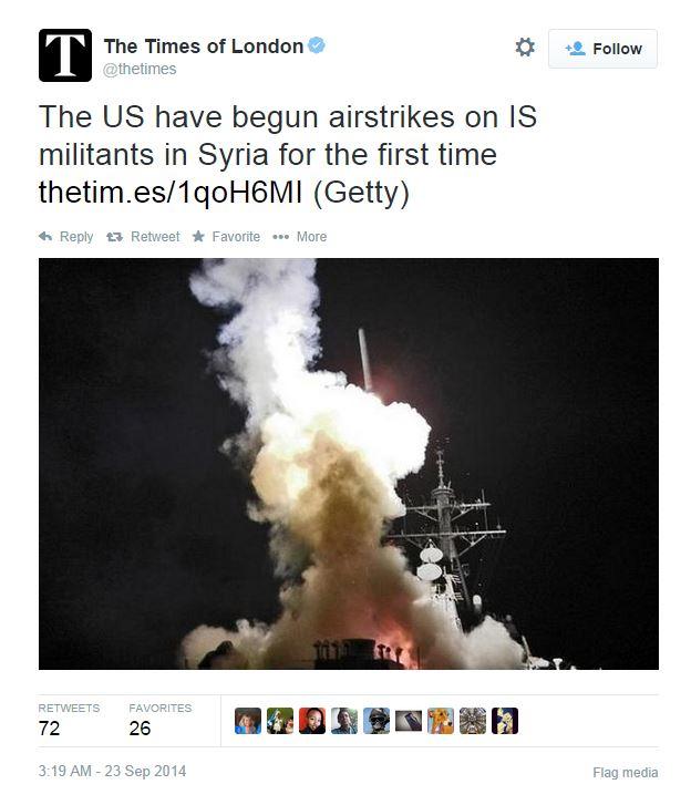 Il tweet del Times che annuncia l'inizio dei raid aerei in Siria