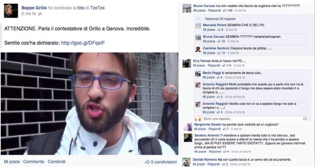 Alcuni commenti al post di Grillo (fonte: Facebook.com)