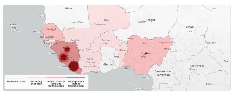 Mappa con la distribuzione dei casi di Ebola (fonte: extranet.who.int)
