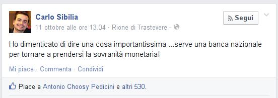 Uscire dall'euro - Il post di Carlo Sibilia su Facebook