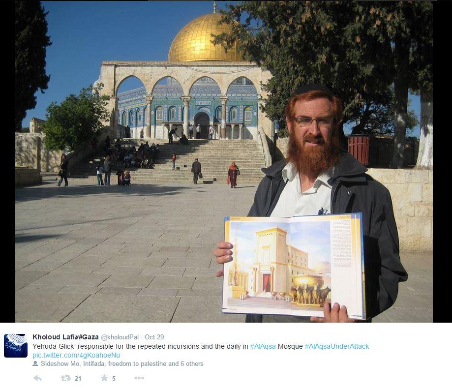 Glick durante un blitz sulla Spianata delle Moschee  in posa di fronte alla Cupola della Roccia mentre sorregge una raffigurazione del Tempio di Gerusalemme (fonte: Twitter.com)