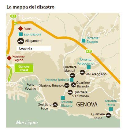 alluvione genova mappa