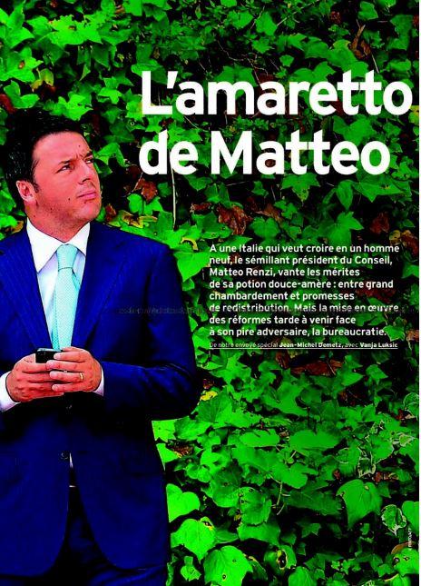 L'amaretto de Matteo: il titolo del servizio su Renzi de L'Express