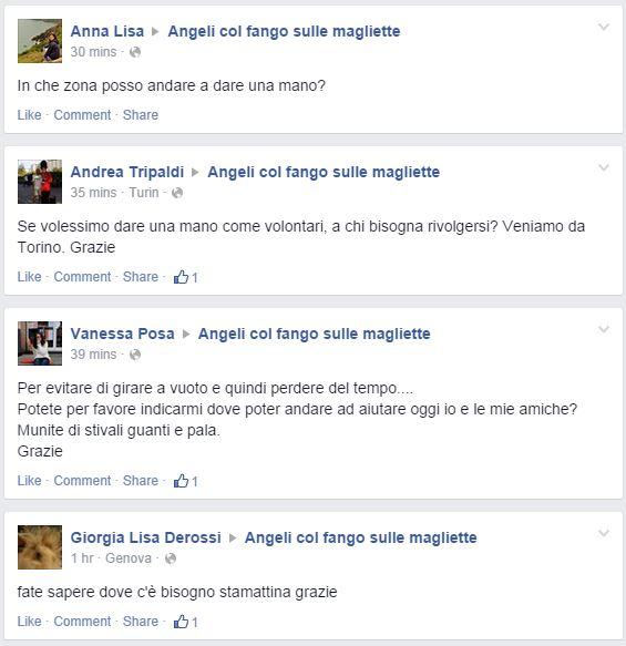 I post di alcuni volontari (fonte: Facebook.com/fangosullemagliette)
