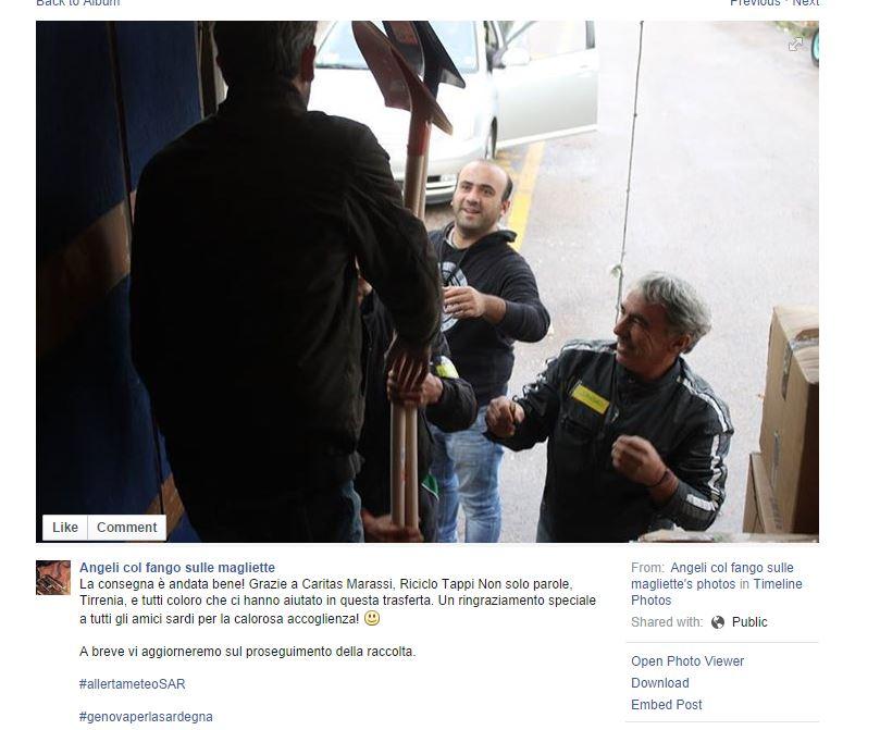 L'arrivo degli aiuti in Sardegna nel 2013 (fonte: Facebook.com)