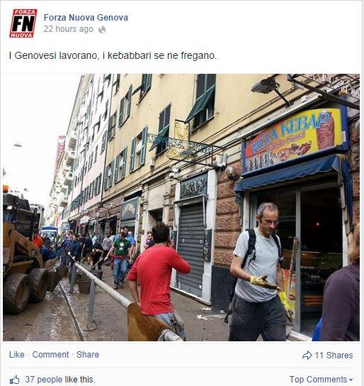 Forza Nuova odia il kebab troppo picanto (fonte: Facebook.com)