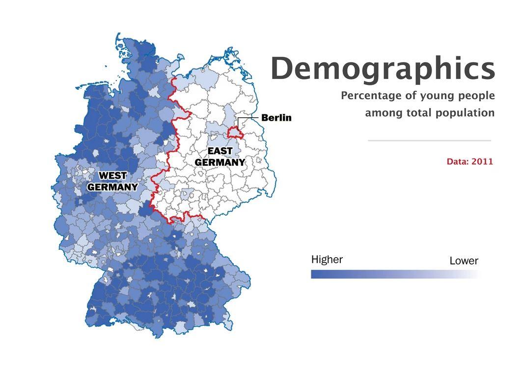 La presenza di giovani nel territorio della Germania