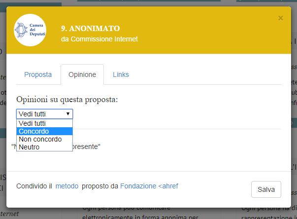 Una parte del sistema di votazione della Costituzione della Rete (fonte: camera.civici.ci)