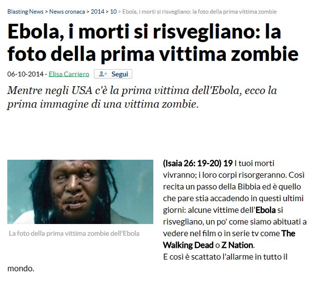 La notizia come è apparsa su Blastingnews (it.blastingnews.com)
