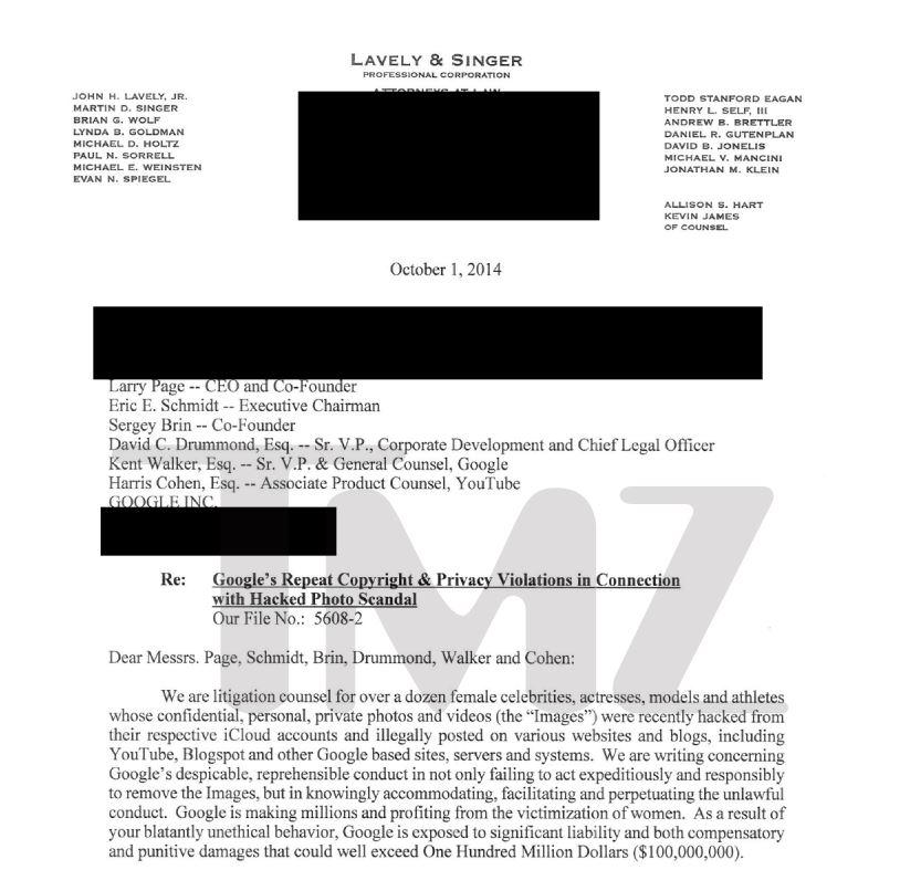 La lettera di richiesta di risarcimento indirizzata a Google (fonte: http://www.tmz.com/)