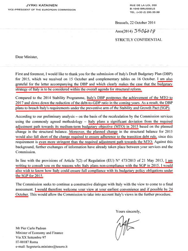 La lettera della UE all'Italia sulla manovra, sottolineata (foto da: @alexdelprete su Twitter)
