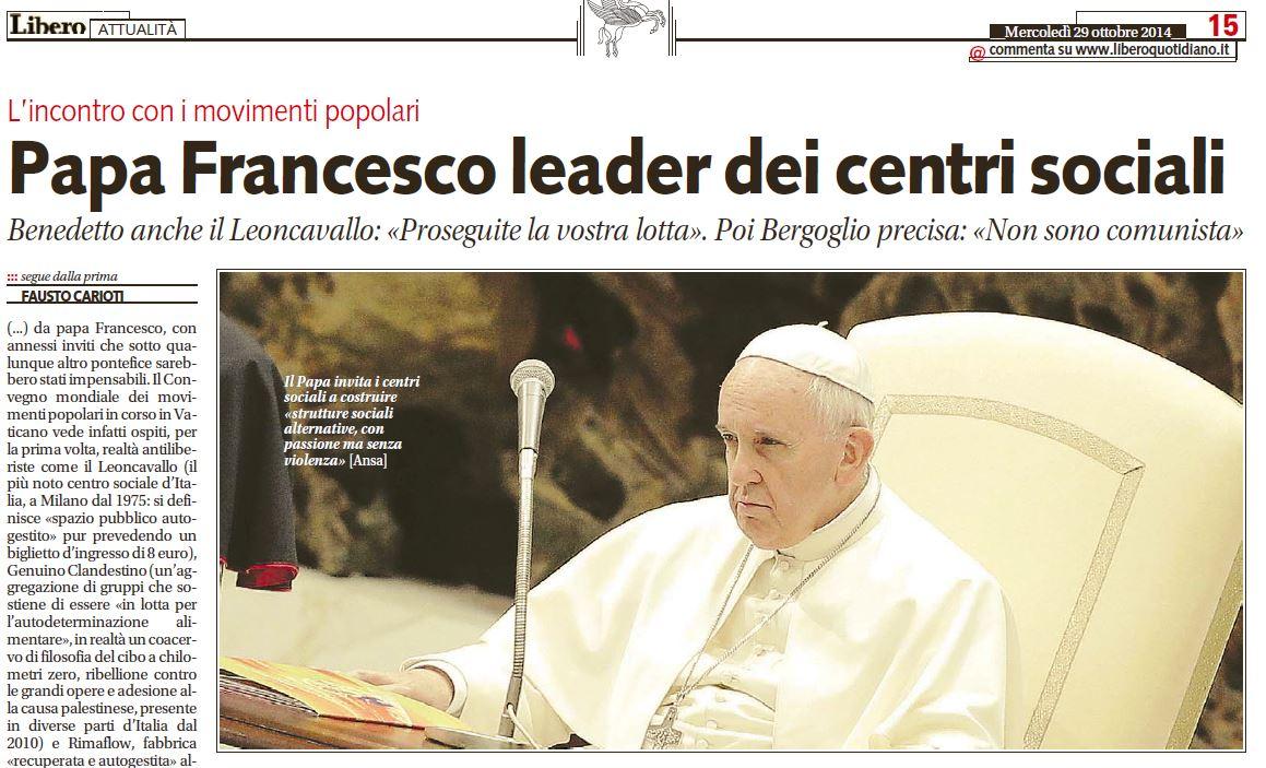 papa francesco leader centri sociali