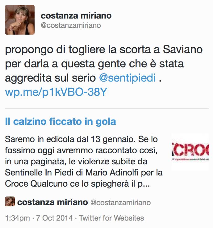 Propongo di togliere la scorta a Saviano per darla a questa gente che è stata aggredita sul serio.