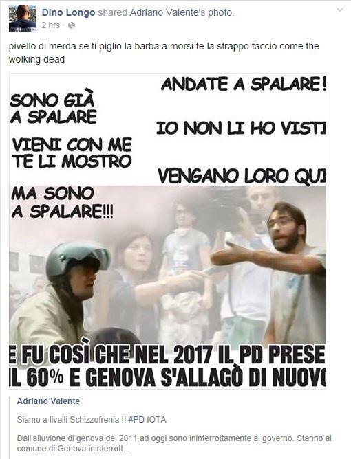 La pacata reazione di un grillino alle contestazioni (Fonte: Facebook.com)