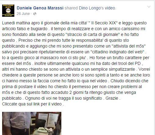 Tizzantini è stato accusato dai suoi di essere un troll del PD (fonte: Facebook.com)