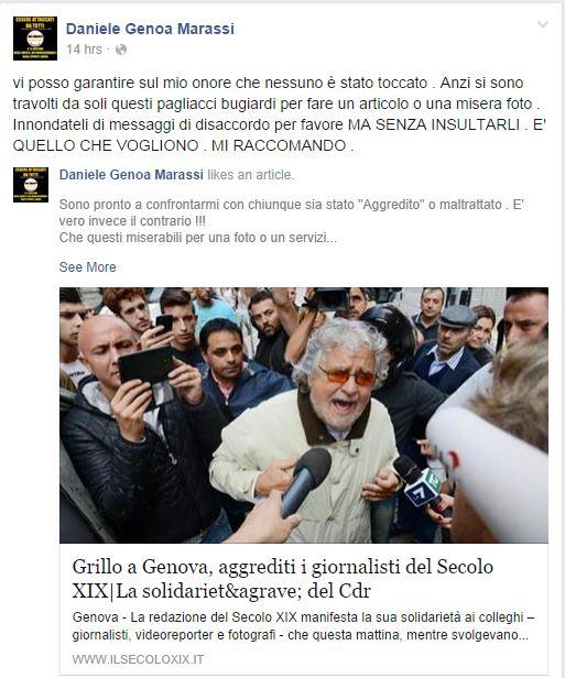 Il commento di Tizzanini sull'aggressione ai giornalisti (Fonte: Facebook.com)