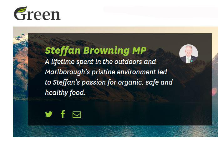 La scheda di presentazione di Steffan Browning sul sito dei Green (fonte: greens.org.nz)
