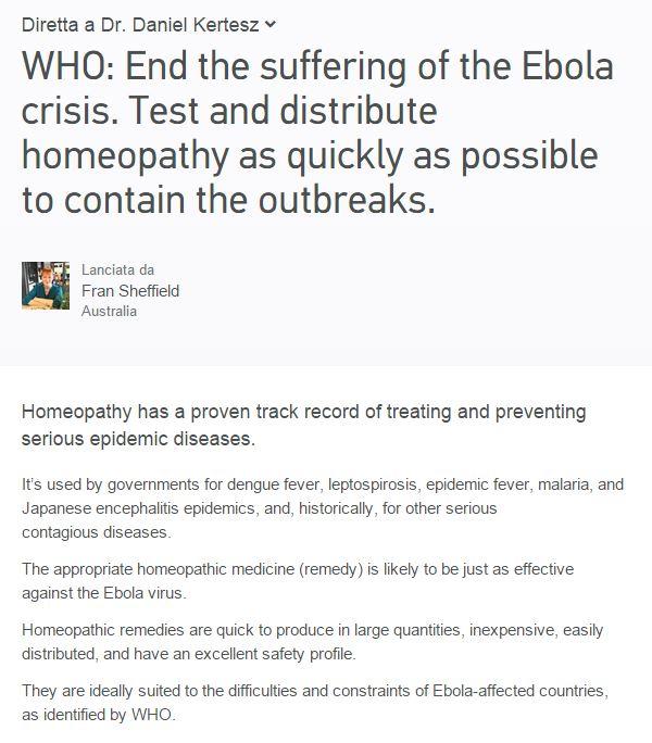 La petizione all'OMS che chiede l'utilizzo di rimedi omeopatici contro Ebola (via Change.org)