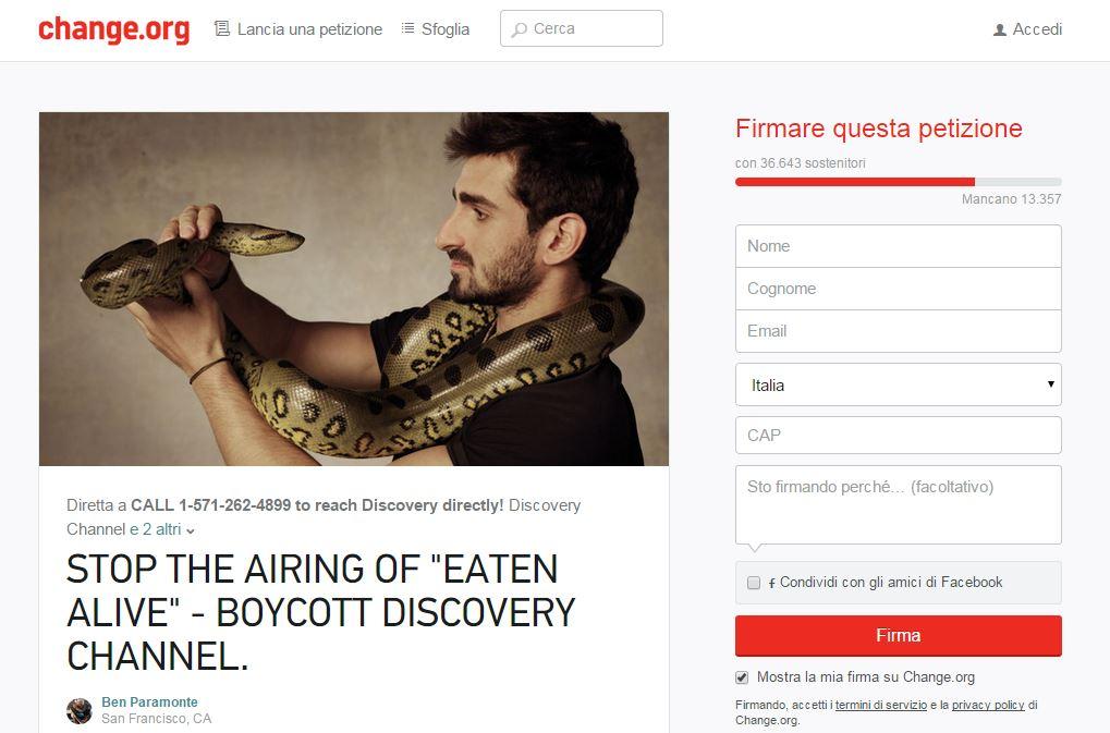 La petizione online su Change.org (fonte: Change.org)