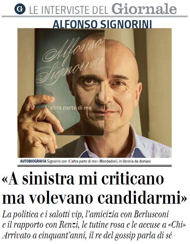 L'intervista di Alfonso Signorini al Giornale di oggi