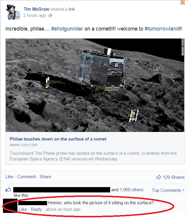 Ei fermi tutti, chi ha scattato la foto del lander se sulla cometa non c'è nessuno a parte il lander? (fonte: Facebook.com)