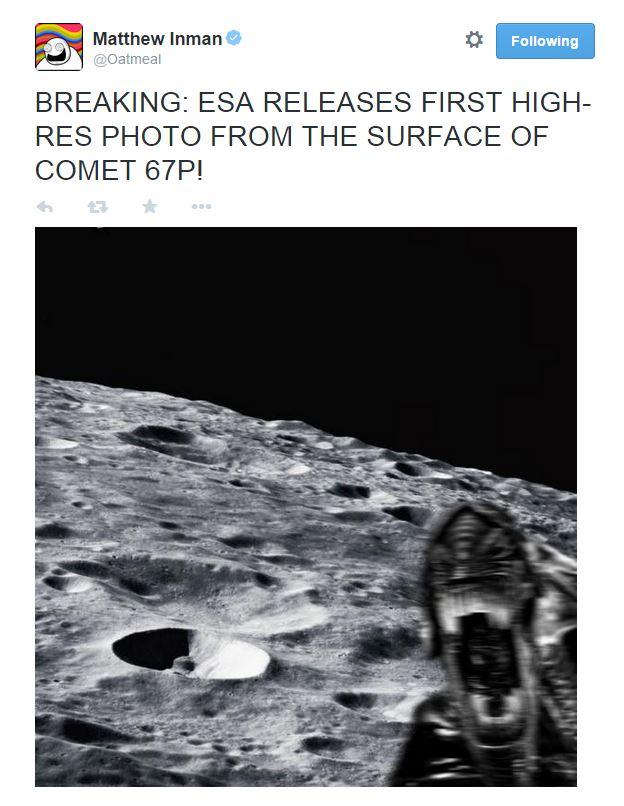 Ecco la prima foto inviata da Philae stamattina. Servono altre prove? (fotne: Twitter.com @oatmeal)