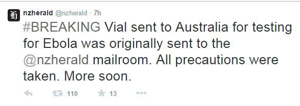 Il tweet del NZ Herald con la notizia sulla fialetta contenente Ebola (fonte: Twitter.com)