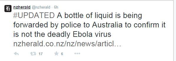 La fialetta sospetta è stata inviata in Australia per le analisi (fonte: Twitter.com)