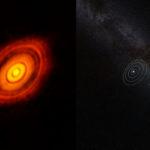 Comparazione tra HL Tauri e il nostro Sitema Solare  (fonte: http://www.eso.org/)