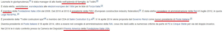 Wikipedia: il curriculum di Luisa Todini