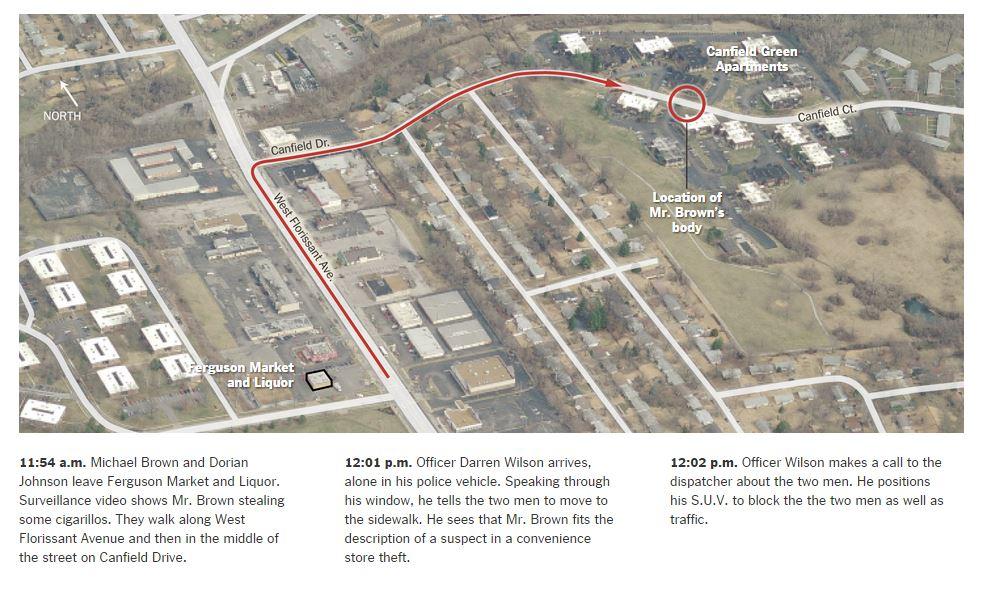 Gli eventi che hanno condotto alla morte di Michael Brown (fonte:   nytimes.com)