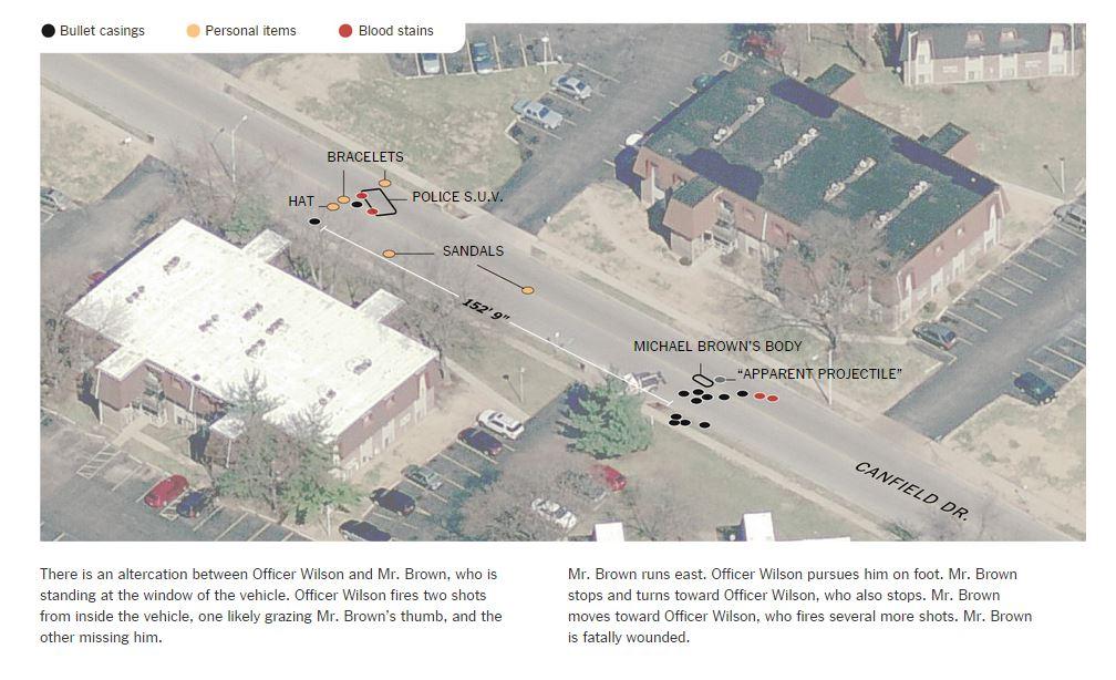 La sparatoria di Ferguson secondo la ricostruzione del NY Times (fonte: nytimes.com)
