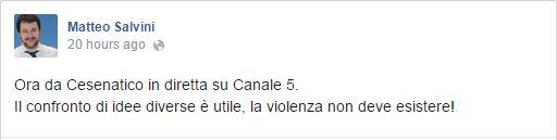 Matteo Salvini informa continuamente i suoi fan sui suoi movimenti televisivi. È nata una stella? (fonte: Facebook.com)