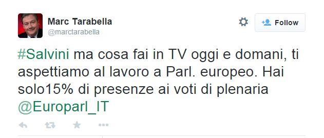 Solo il 15% di presenze alle votazioni al Parlamento Europeo?  Well done Matteo (fonte: Twitter.com)