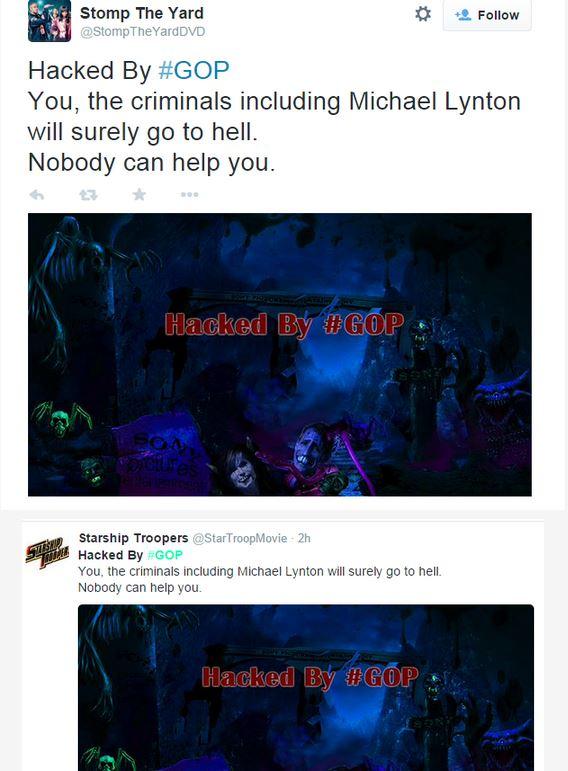 Due account Twitter hackerati da #GOP (fonte: Twitter.com)