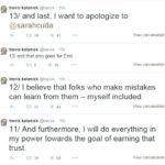 I tweet di scuse del CEO di Uber Travis Kalanick (Fonte: Twitter.com)