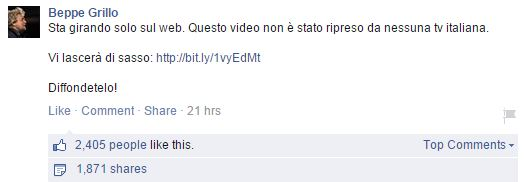 Udo Ulfkotte: Il post di Beppe su FB (via Facebool.com)
