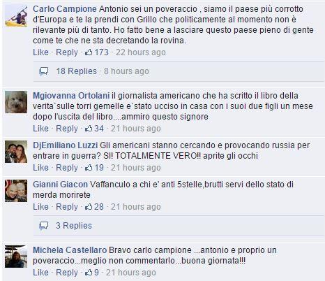 I commenti sulla pagina Fb di Beppe (fonte: Facebook.com)