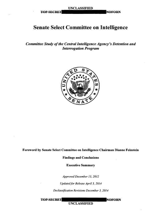 Il frontespizio del dossier della Commissione d'inchiesta sulla CIA